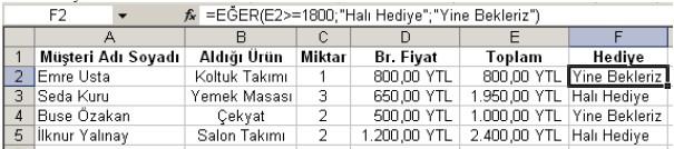 Excel fonksiyonlarla ilgili örnek